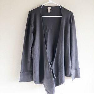 J.Jill Wrap Cardigan Knit Silk Blend Gray Size M
